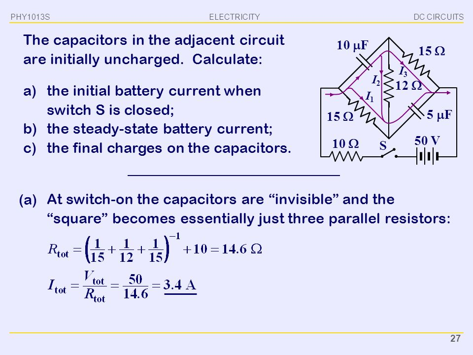 the initial battery current when switch S is closed;
