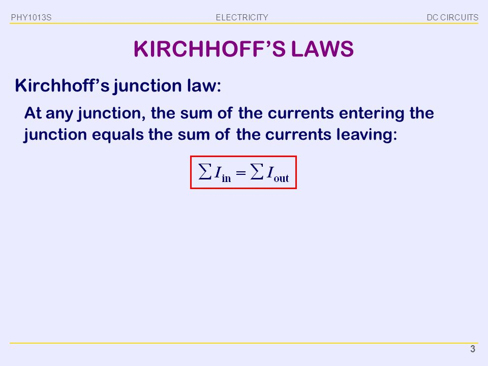 KIRCHHOFF'S LAWS Kirchhoff's junction law: