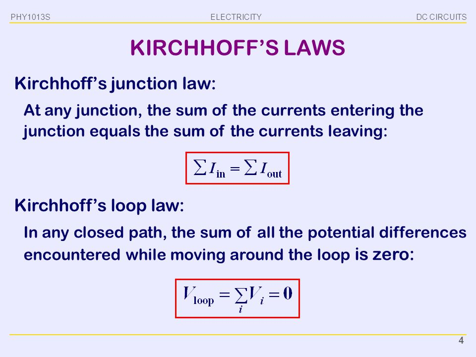 KIRCHHOFF'S LAWS Kirchhoff's junction law: Kirchhoff's loop law: