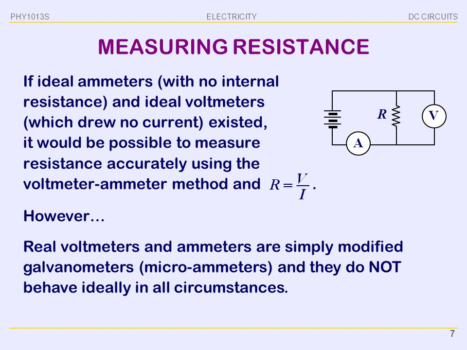 PHY1013S DC CIRCUITS. MEASURING RESISTANCE.