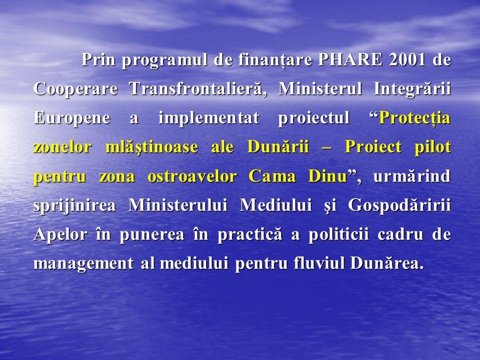Prin programul de finanţare PHARE 2001 de Cooperare Transfrontalieră, Ministerul Integrării Europene a implementat proiectul Protecţia zonelor mlăştinoase ale Dunării – Proiect pilot pentru zona ostroavelor Cama Dinu , urmărind sprijinirea Ministerului Mediului şi Gospodăririi Apelor în punerea în practică a politicii cadru de management al mediului pentru fluviul Dunărea.