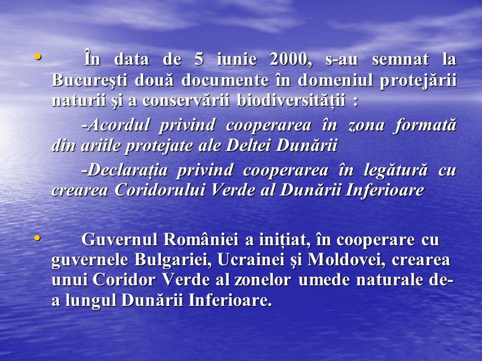 În data de 5 iunie 2000, s-au semnat la Bucureşti două documente în domeniul protejării naturii şi a conservării biodiversităţii :