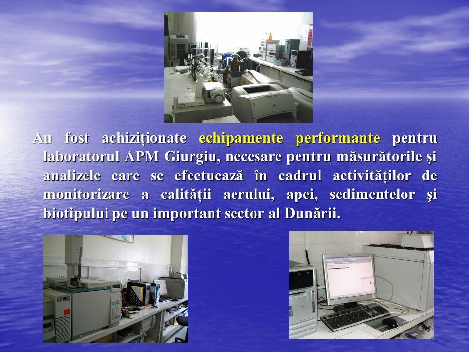Au fost achiziţionate echipamente performante pentru laboratorul APM Giurgiu, necesare pentru măsurătorile şi analizele care se efectuează în cadrul activităţilor de monitorizare a calităţii aerului, apei, sedimentelor şi biotipului pe un important sector al Dunării.