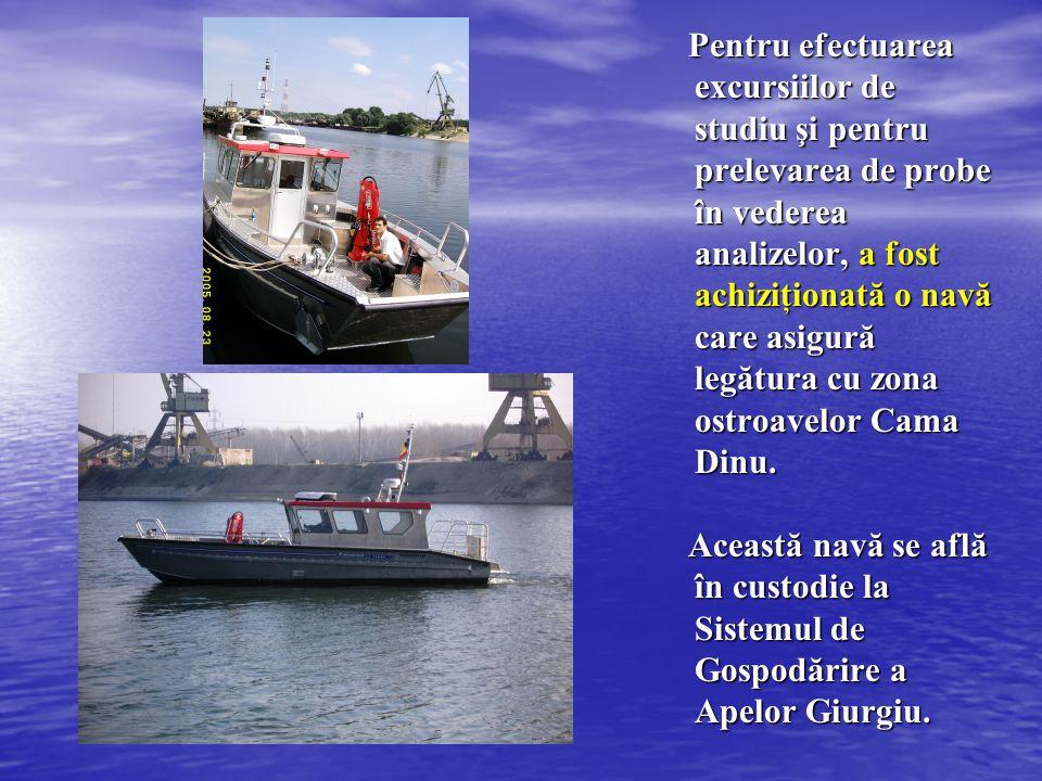 Pentru efectuarea excursiilor de studiu şi pentru prelevarea de probe în vederea analizelor, a fost achiziţionată o navă care asigură legătura cu zona ostroavelor Cama Dinu.