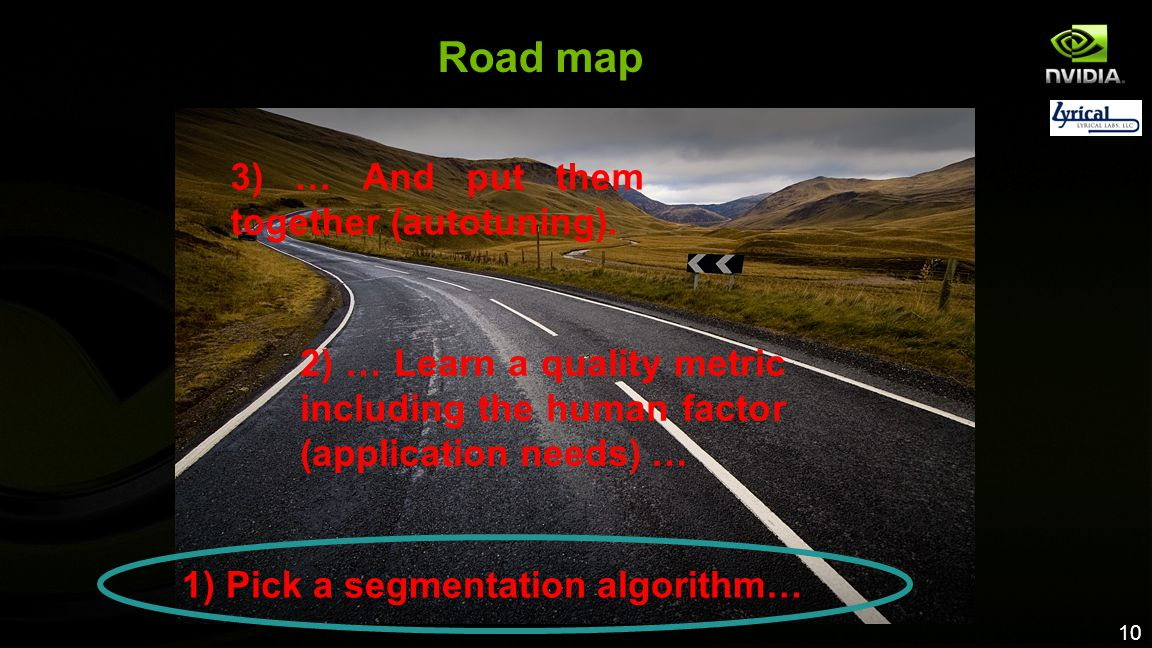 1) Pick a segmentation algorithm…