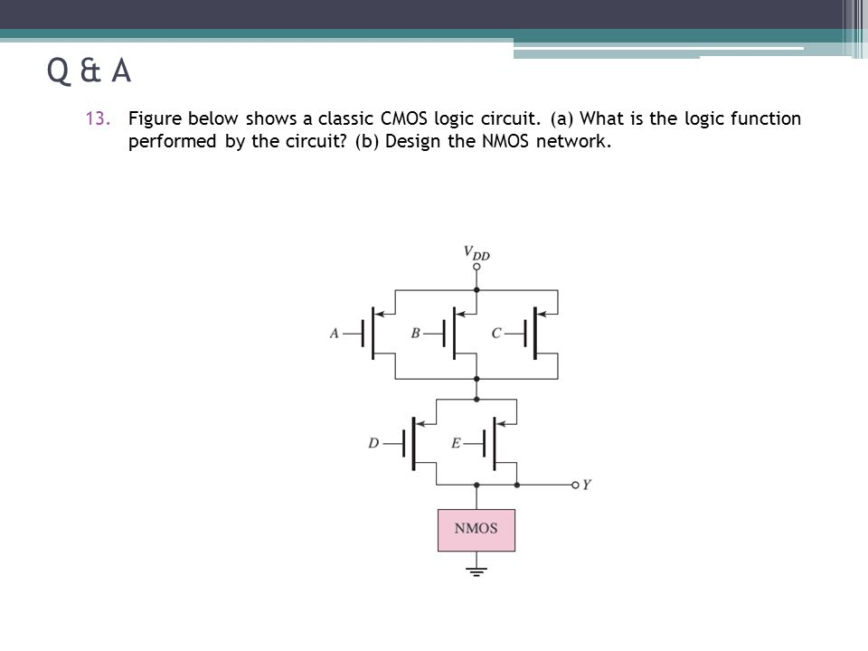 Q & A Figure below shows a classic CMOS logic circuit.