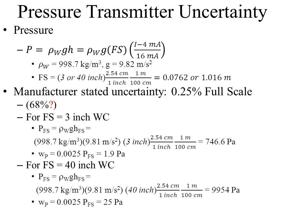 Pressure Transmitter Uncertainty