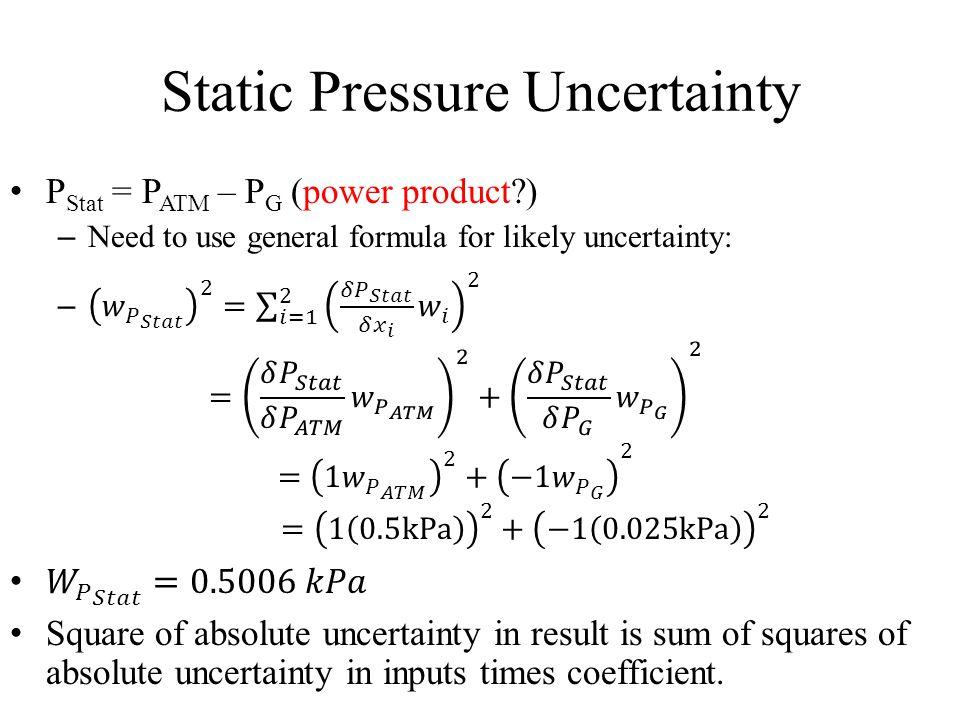 Static Pressure Uncertainty