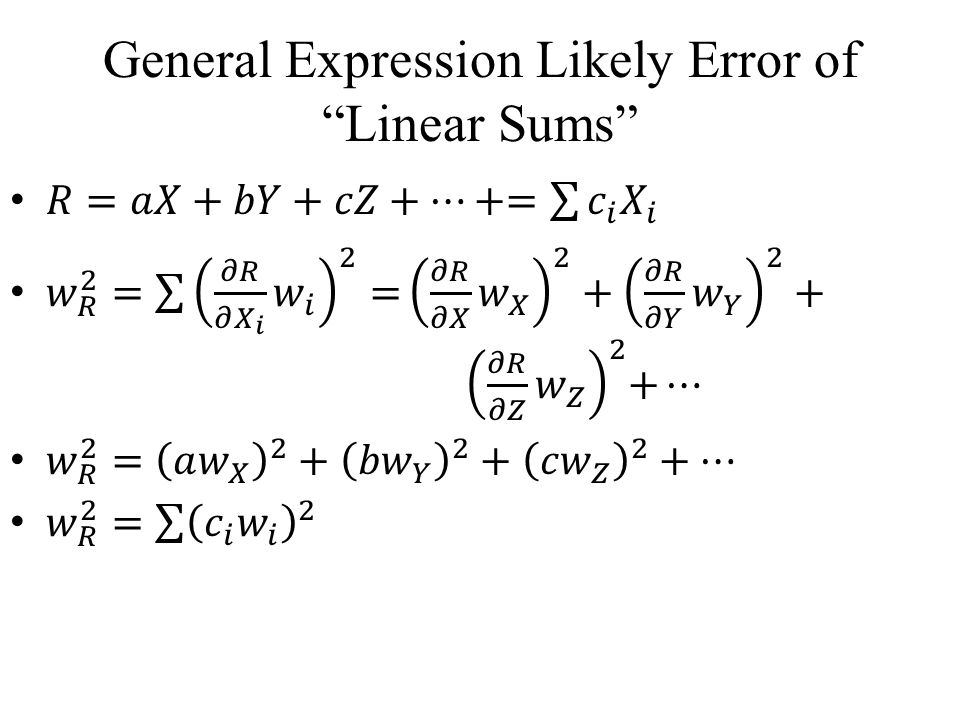 General Expression Likely Error of Linear Sums