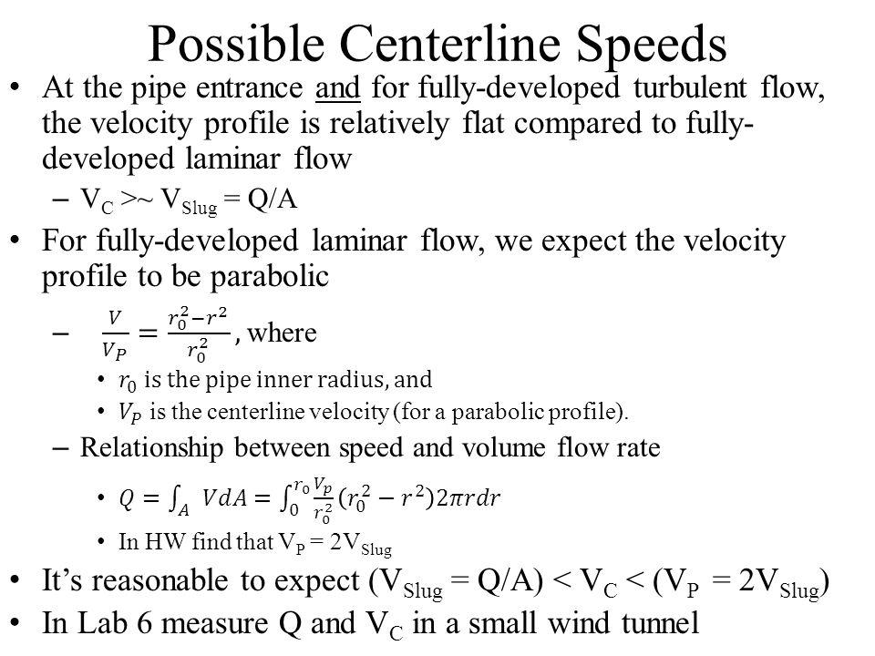 Possible Centerline Speeds