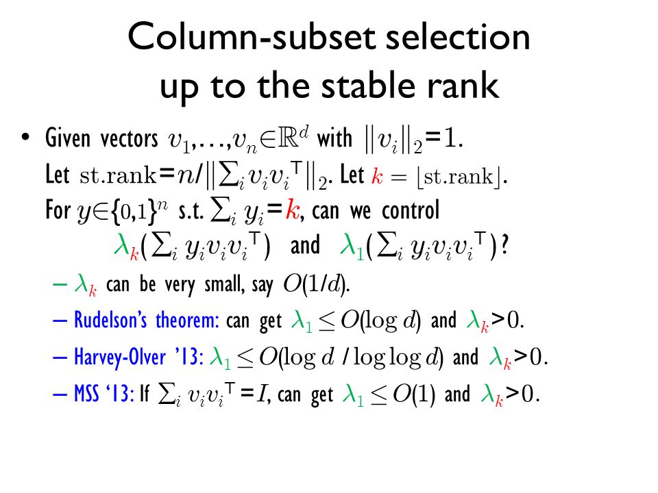 Column-subset selection up to the stable rank