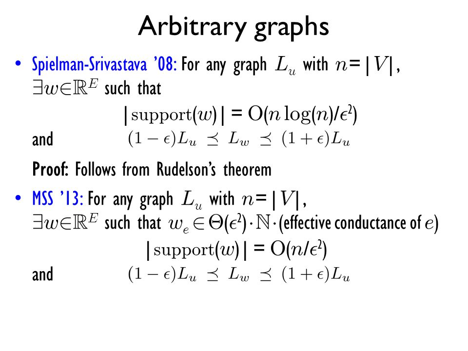 Arbitrary graphs Spielman-Srivastava '08: For any graph Lu with n=|V|, 9w2RE such that |support(w)| = O(n log(n)/²2) and.