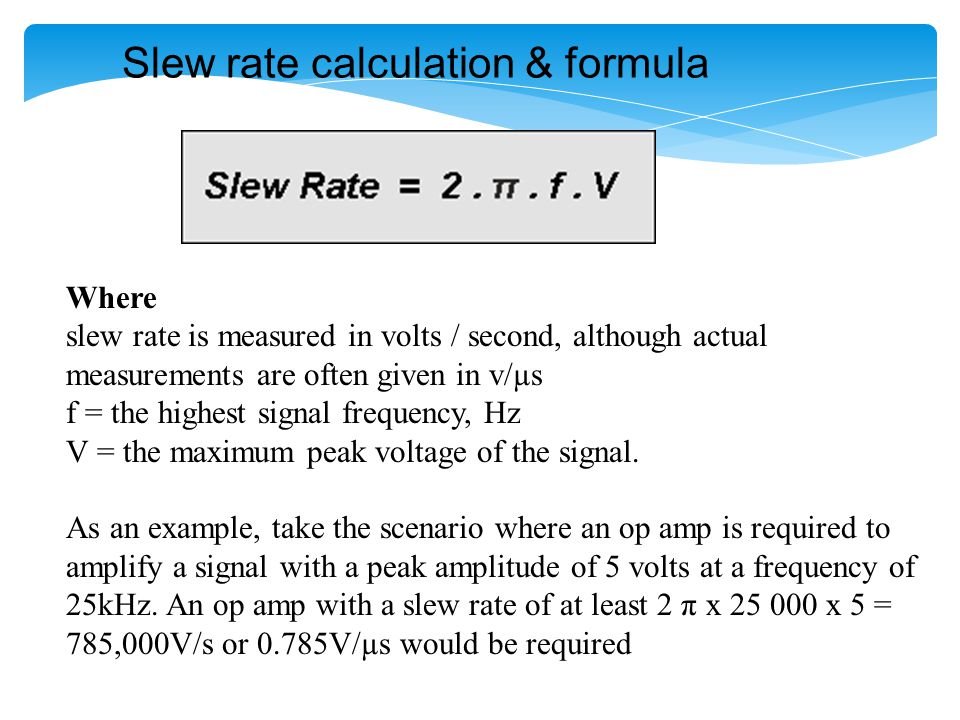 Slew rate calculation & formula
