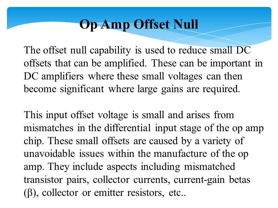 Op Amp Offset Null
