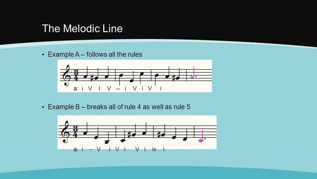 The Melodic Line Example A – follows all the rules