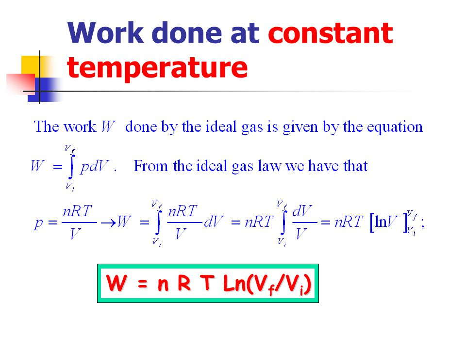 Work done at constant temperature