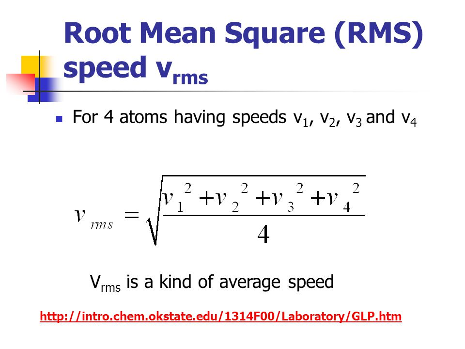 Root Mean Square (RMS) speed vrms