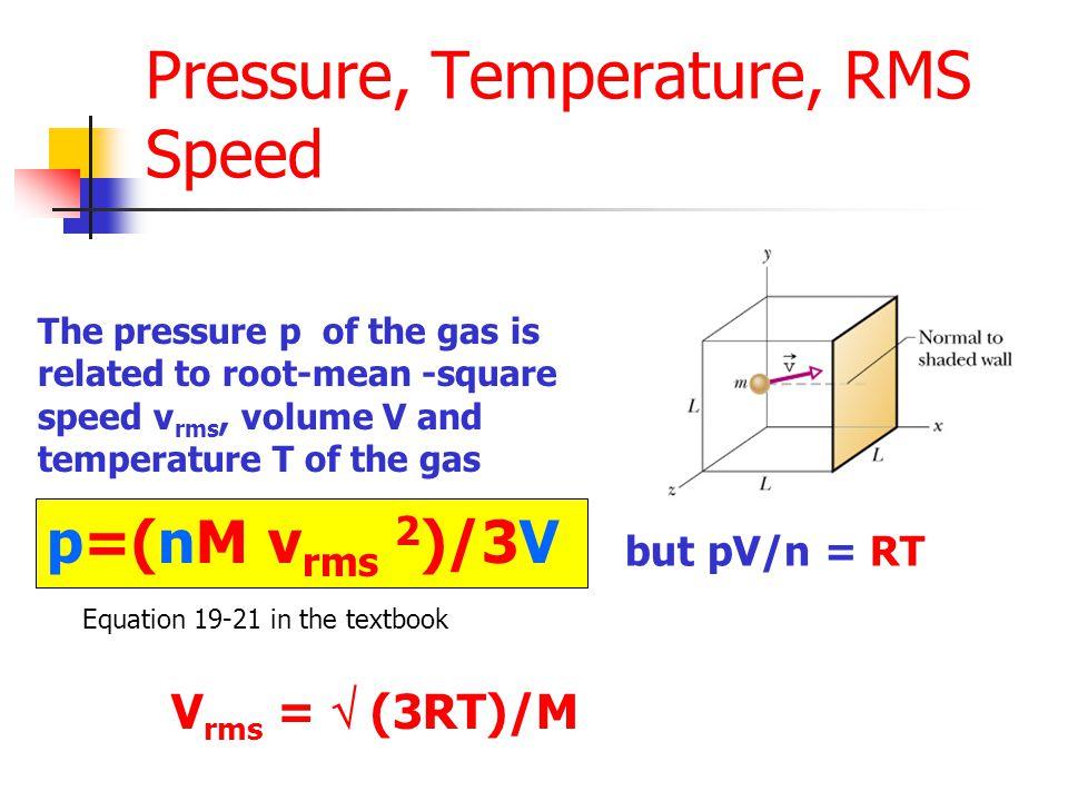 Pressure, Temperature, RMS Speed