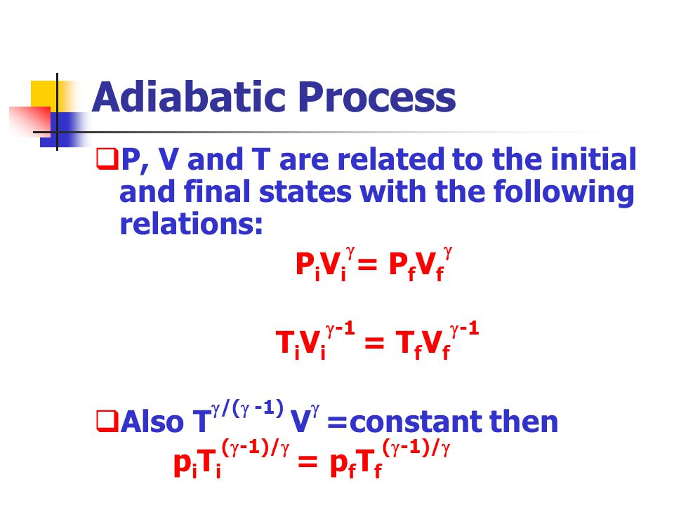 Adiabatic Process P, V and T are related to the initial and final states with the following relations: