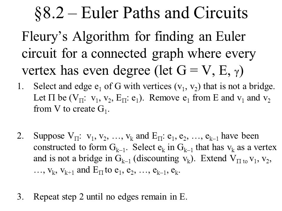 §8.2 – Euler Paths and Circuits
