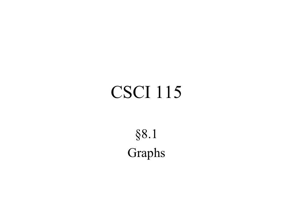 CSCI 115 §8.1 Graphs
