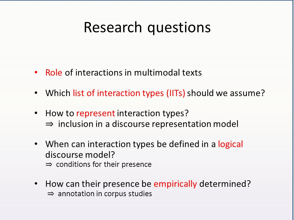 Research questions Role of interactions in multimodal texts