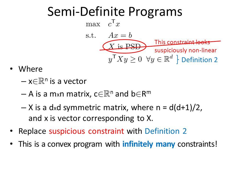 Semi-Definite Programs