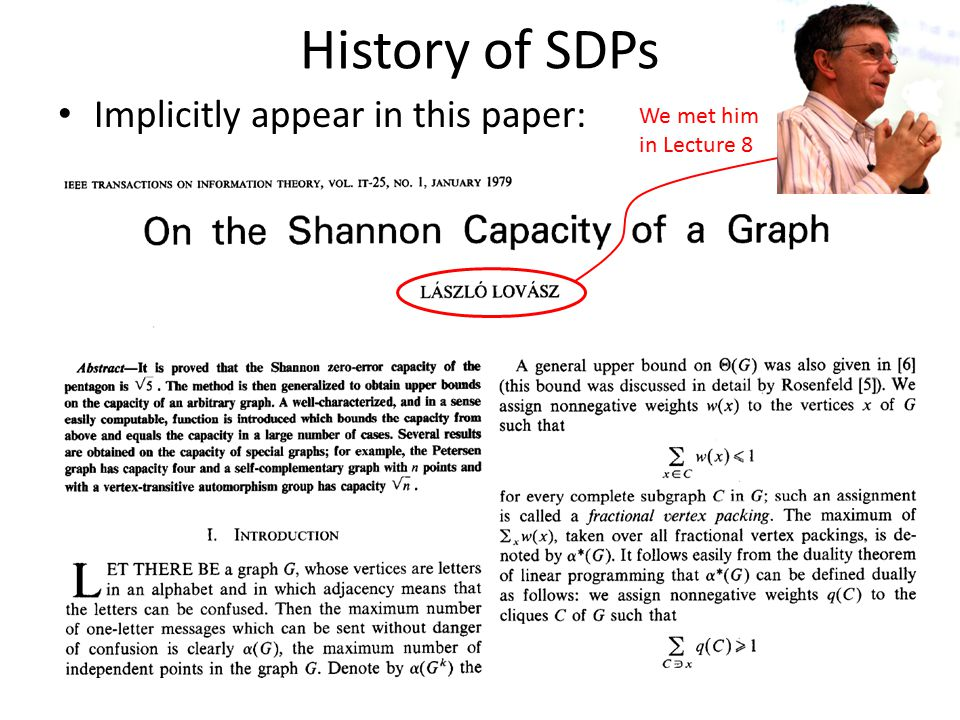 History of SDPs Implicitly appear in this paper: