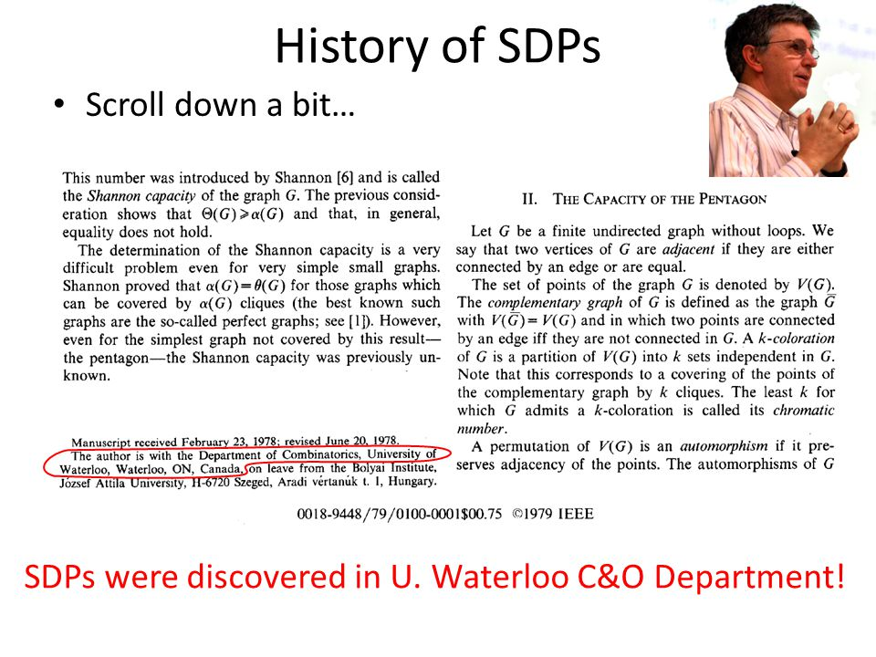 History of SDPs Scroll down a bit…