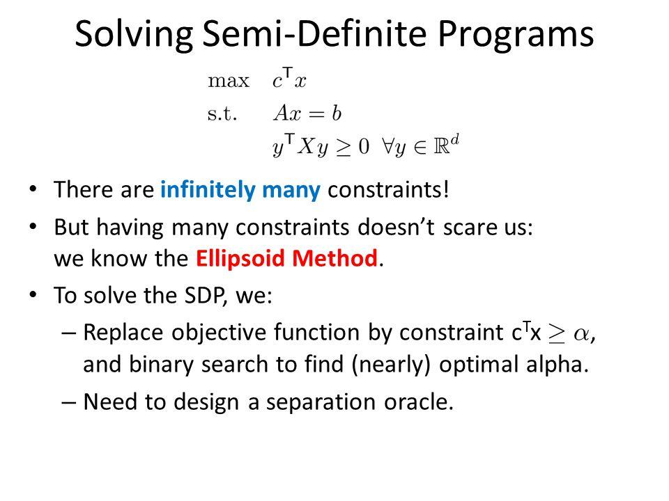 Solving Semi-Definite Programs