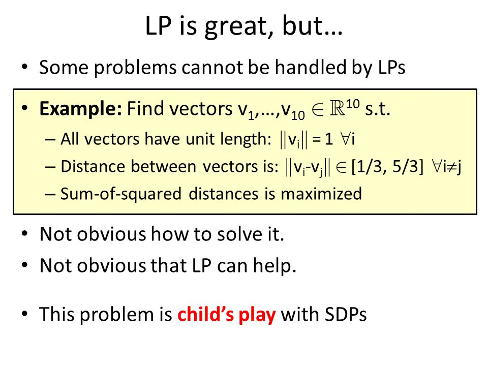 LP is great, but… Some problems cannot be handled by LPs
