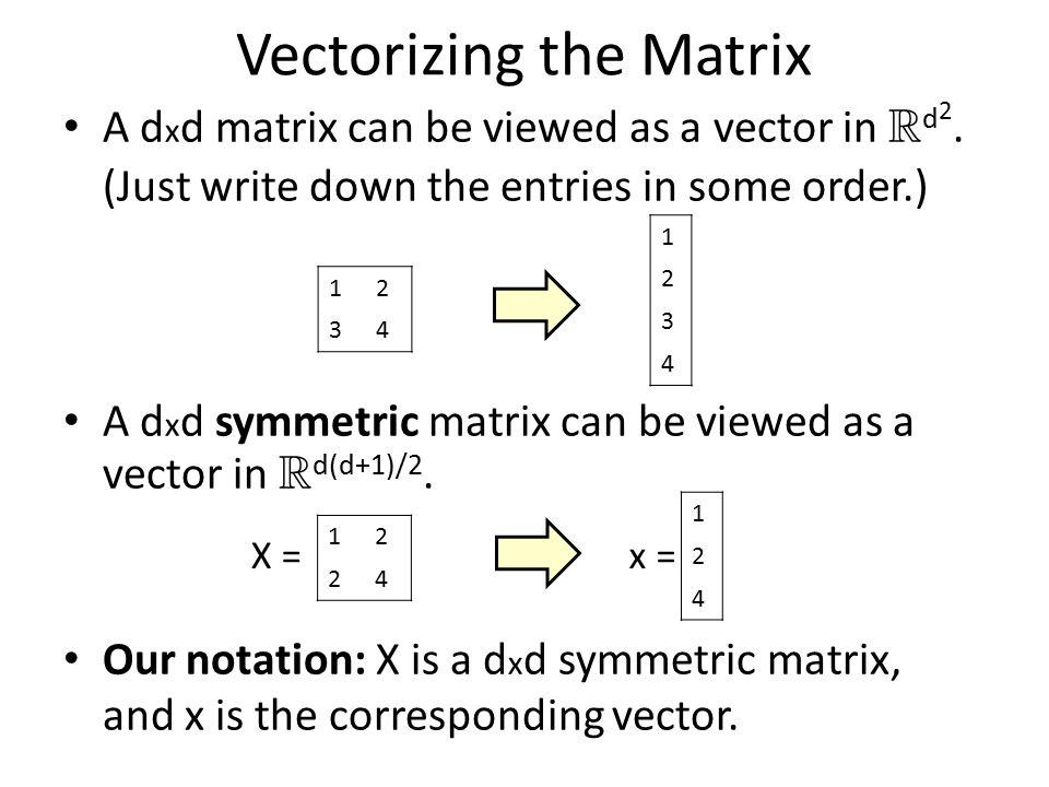 Vectorizing the Matrix