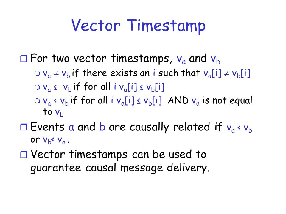 Vector Timestamp For two vector timestamps, va and vb