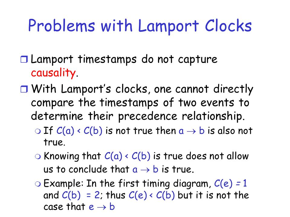 Problems with Lamport Clocks