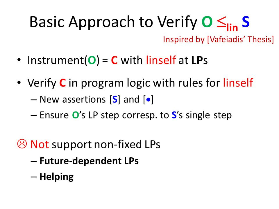 Basic Approach to Verify O lin S