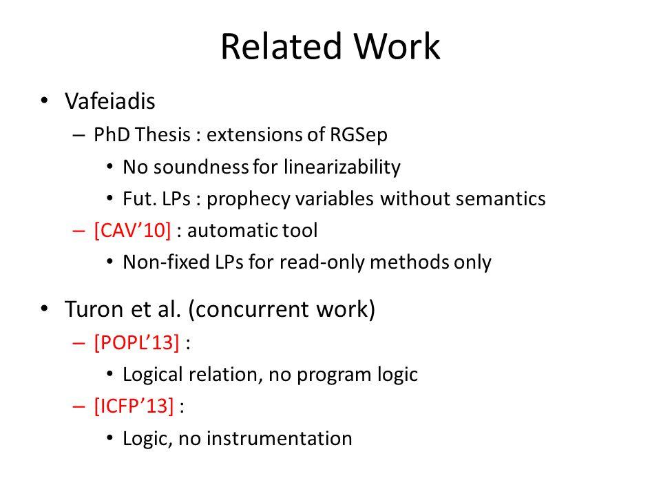 Related Work Vafeiadis Turon et al. (concurrent work)