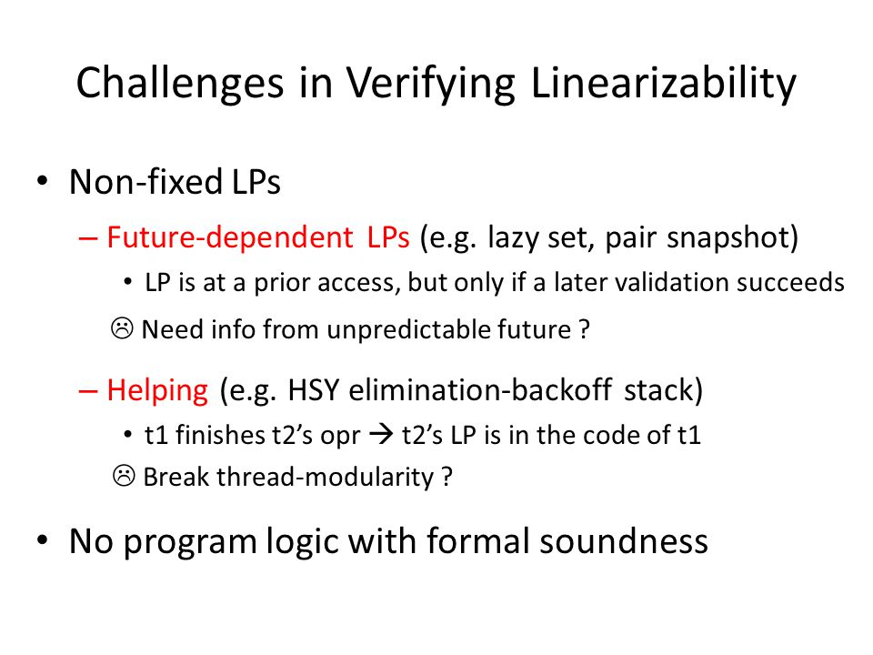 Challenges in Verifying Linearizability