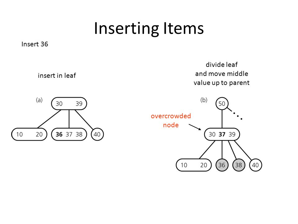 Inserting Items Insert 36 divide leaf and move middle