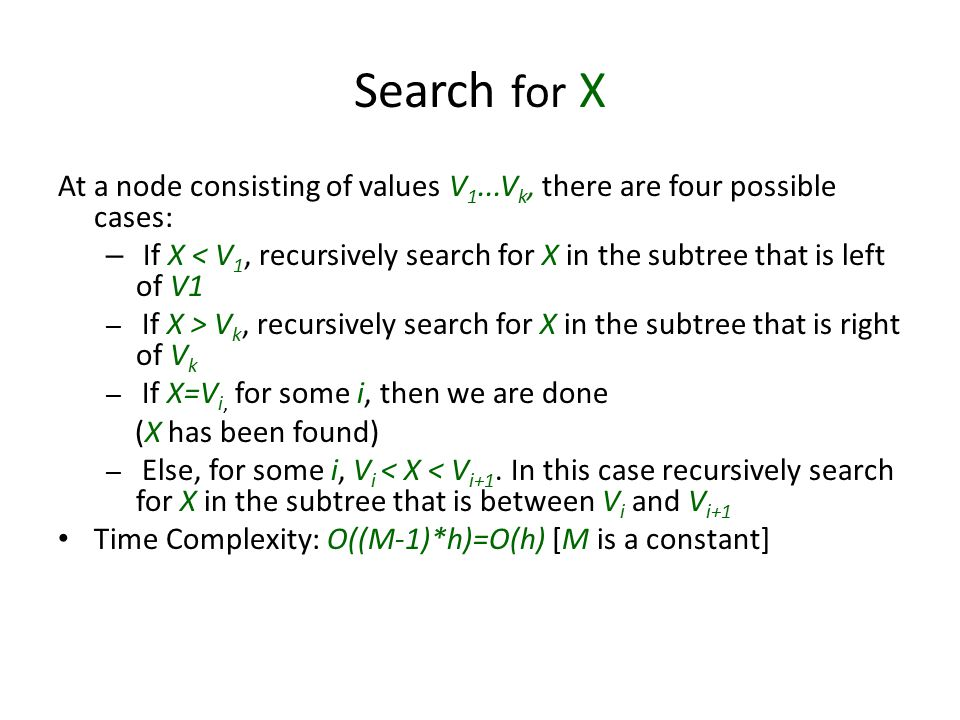 Search for X At a node consisting of values V1...Vk, there are four possible cases: