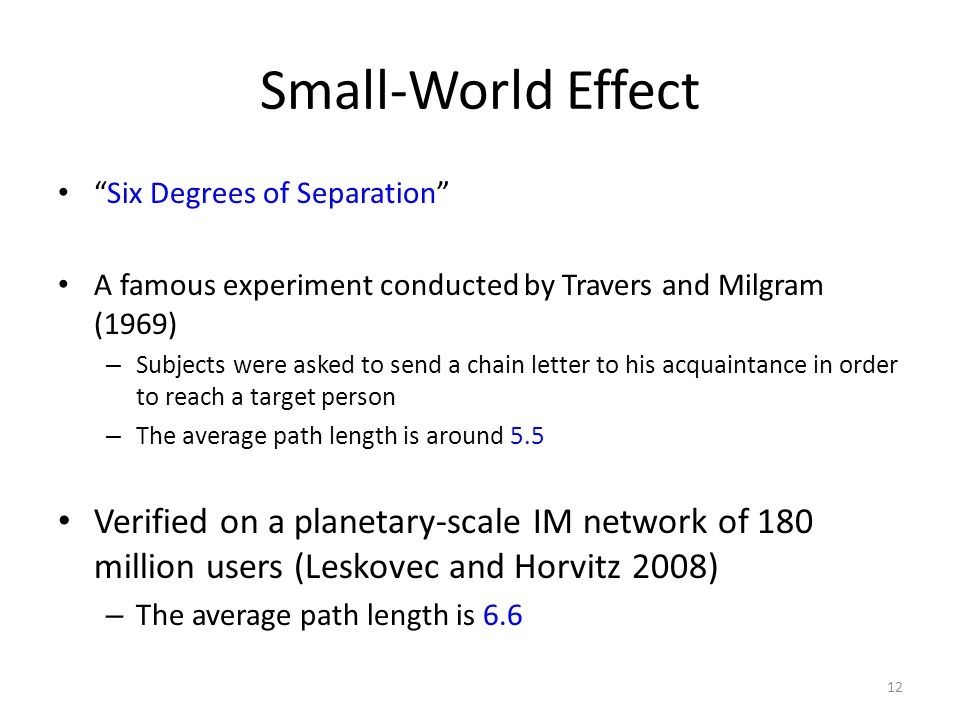 Small-World Effect Six Degrees of Separation A famous experiment conducted by Travers and Milgram (1969)