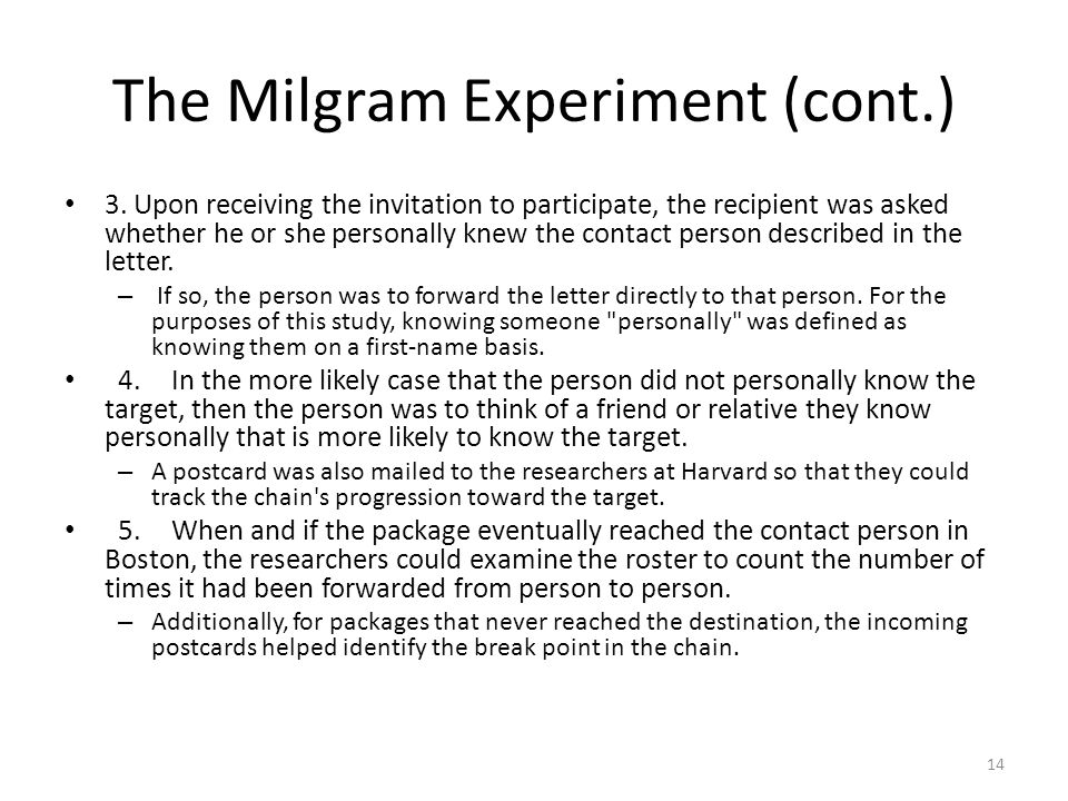 The Milgram Experiment (cont.)