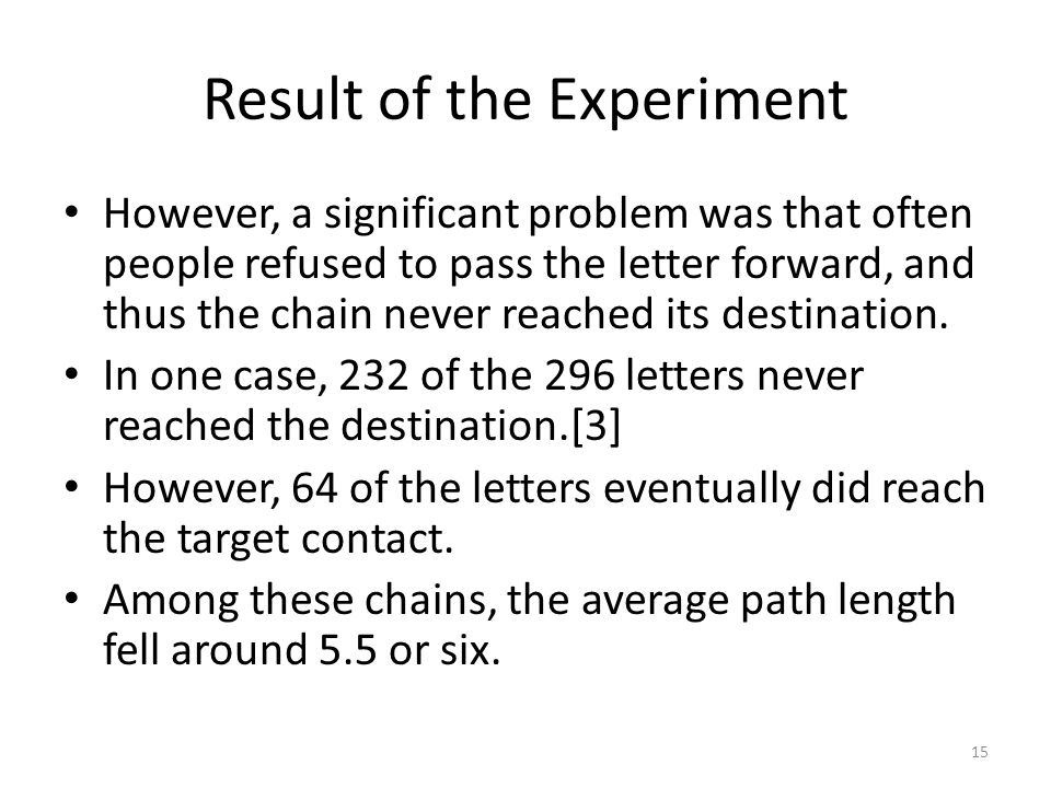 Result of the Experiment