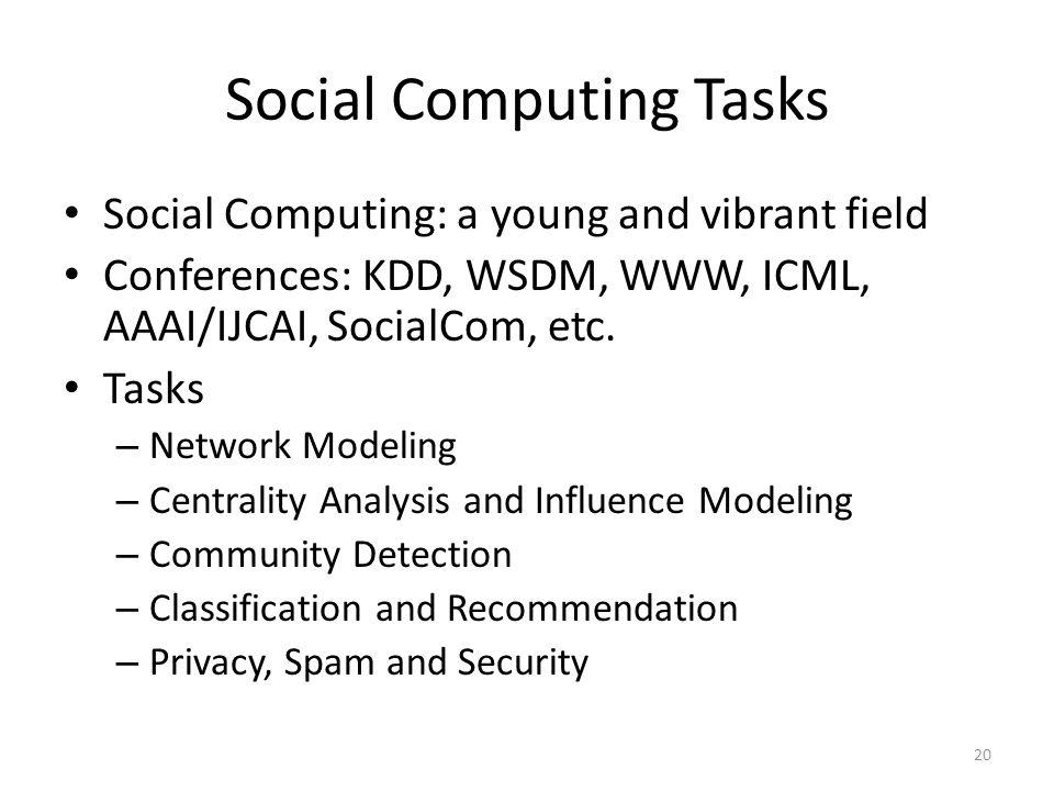 Social Computing Tasks
