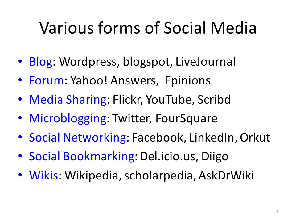 Various forms of Social Media