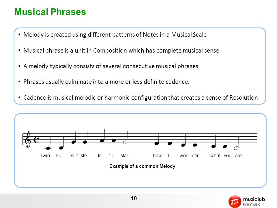 Musical Phrases Melody is created using different patterns of Notes in a Musical Scale.