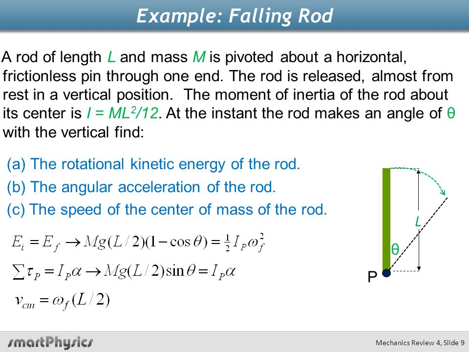 Example: Falling Rod (a) The rotational kinetic energy of the rod.