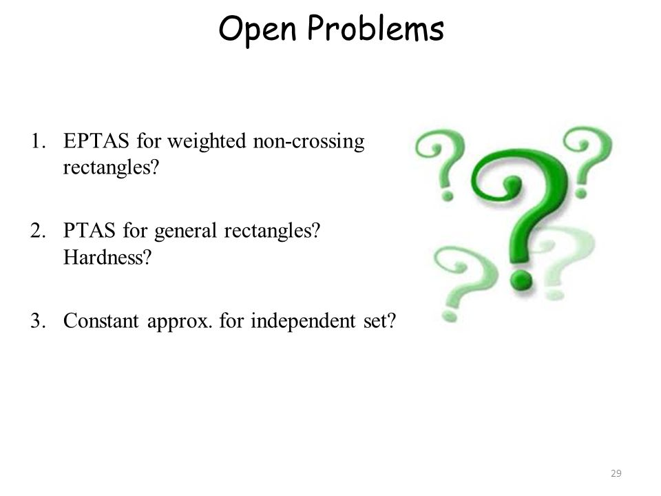 Open Problems EPTAS for weighted non-crossing rectangles