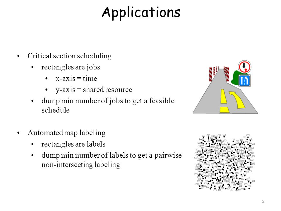 Applications Critical section scheduling rectangles are jobs