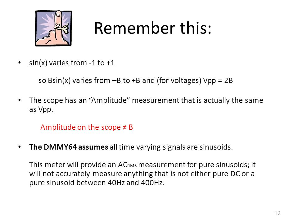 Remember this: sin(x) varies from -1 to +1 so Bsin(x) varies from –B to +B and (for voltages) Vpp = 2B.