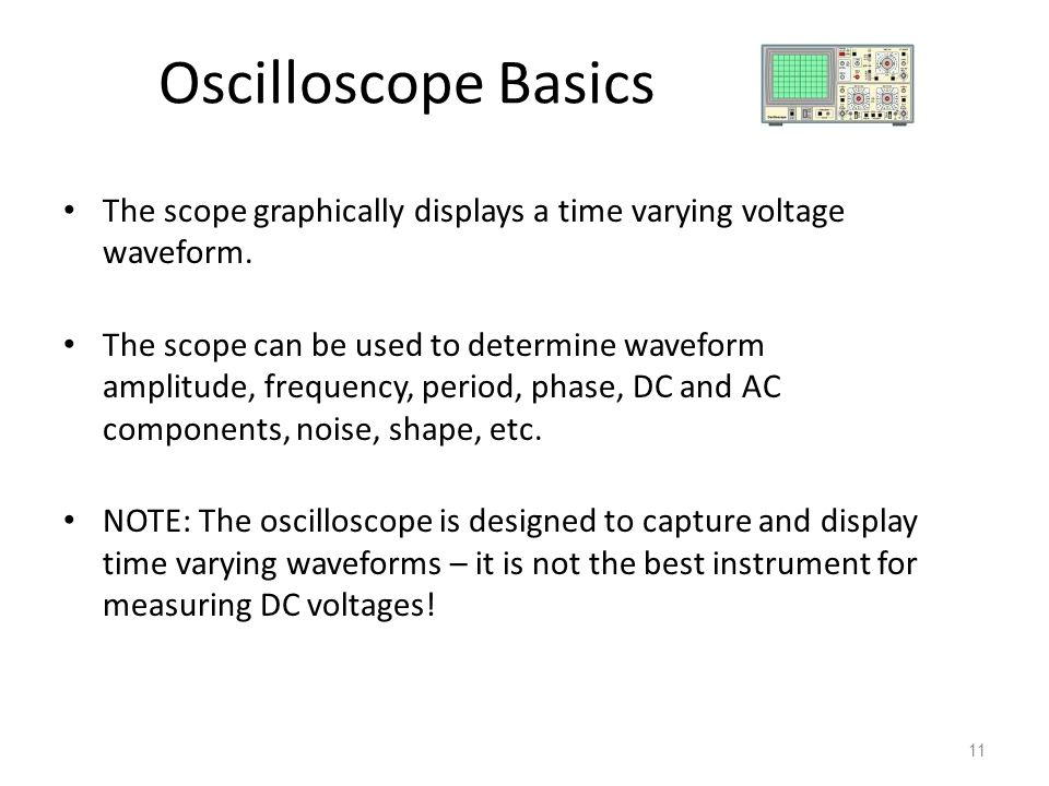 Oscilloscope Basics The scope graphically displays a time varying voltage waveform.